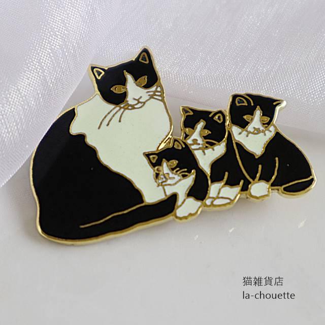 猫のエナメル(七宝)ブローチ